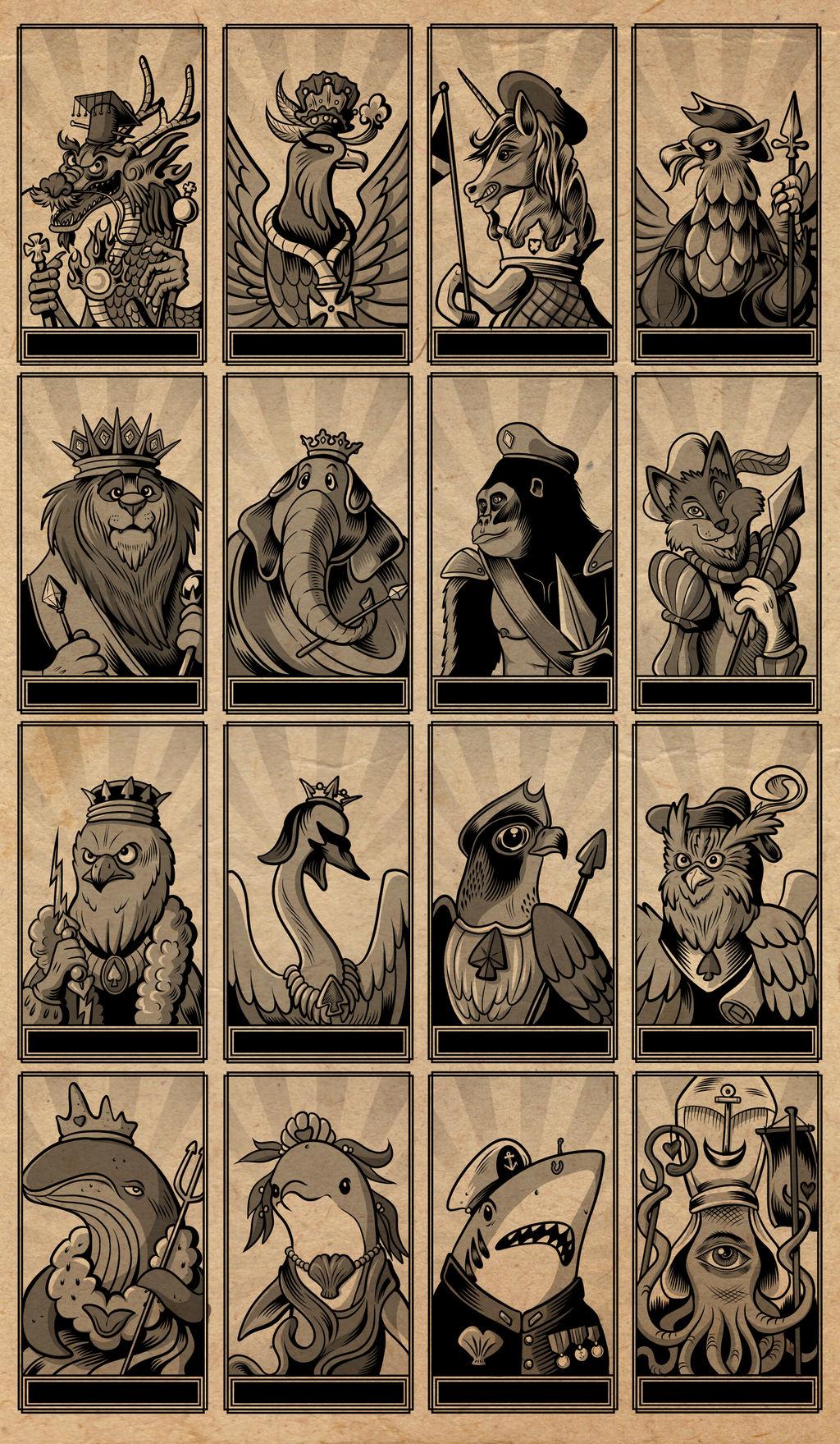 Animal Tarot Deck - Minor Arcana Royal Court Cards by
