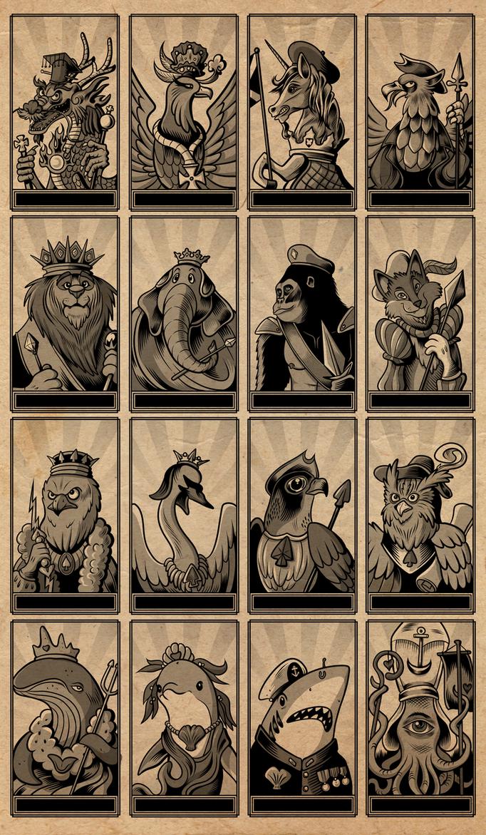 Animal Tarot Deck - Minor Arcana Royal Court Cards by SouthParkTaoist