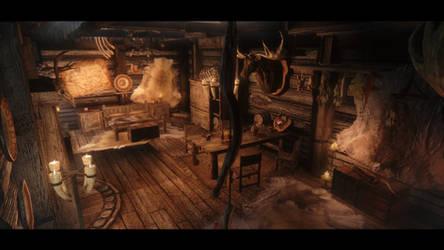 Inside a little shack