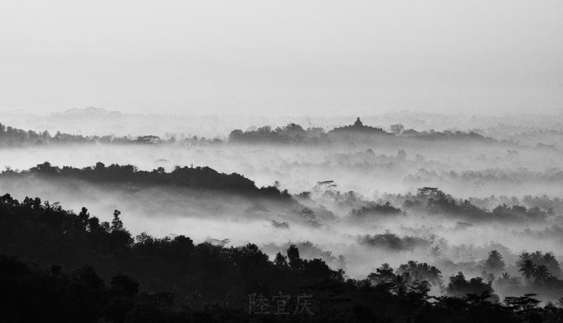 Borobudur From a Distance BW by thesaintdevil