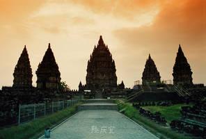 Sunset in Prambanan Temple by thesaintdevil