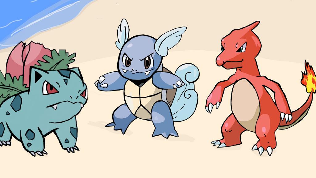 Ivysaur, Charmeleon, and Wartortle  by mannydrawscomics