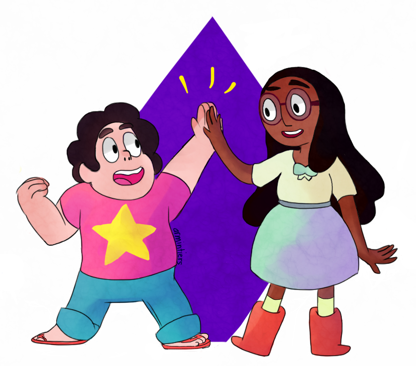 connie and steven from steven universe!! if you haventt heard of steven universe it's a great show with lots of strong/diverse female characters, i really do love it primarily becaus e of tha...