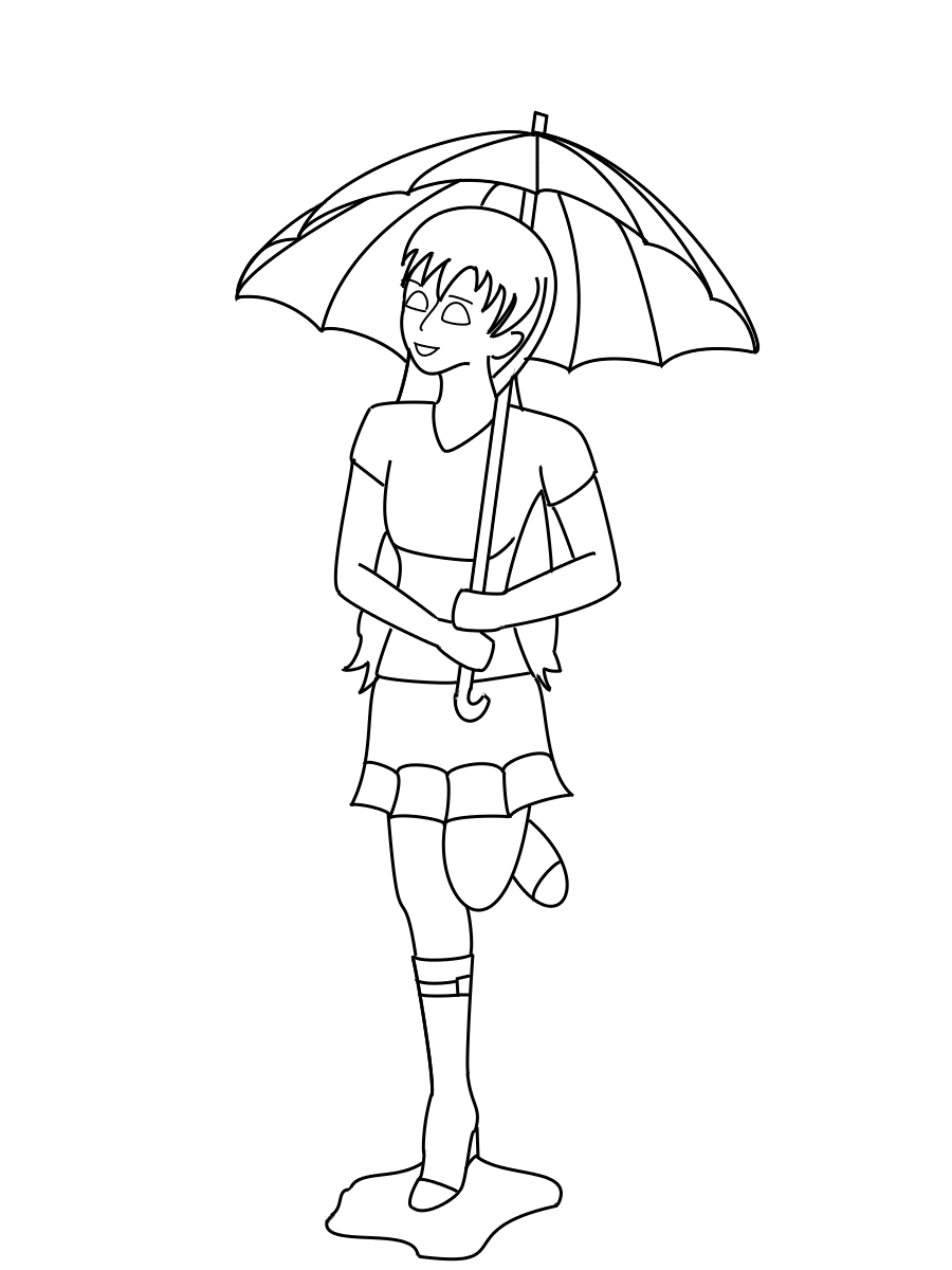 Line Art Umbrella : Umbrella girl lineart by youngpearl on deviantart