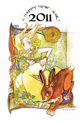 Eostre and Hare by daLomacchi