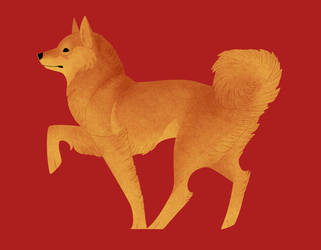 Geometric dogs - Finnish Spitz by Kelgrid