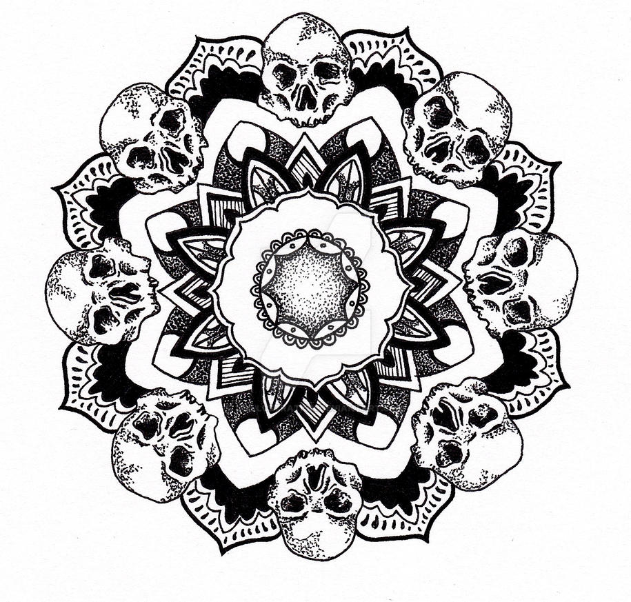 skull mandala by csillustration on deviantart. Black Bedroom Furniture Sets. Home Design Ideas
