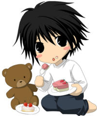 L, teddy and cake