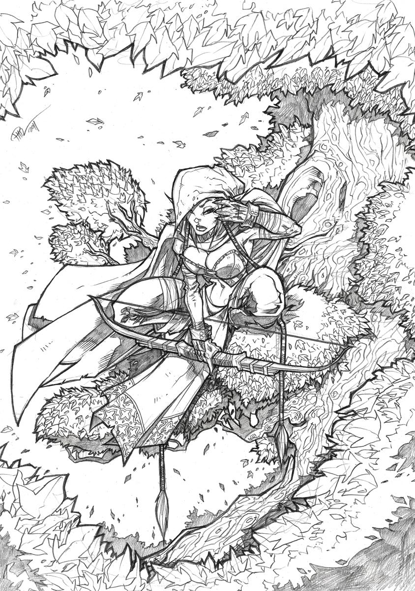 Elven Ranger in a Tree by DeeviousGenius