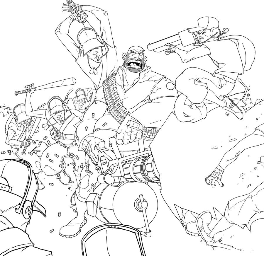 Team Fortress 2 - Scout Rush! - Lineart by DeeviousGenius