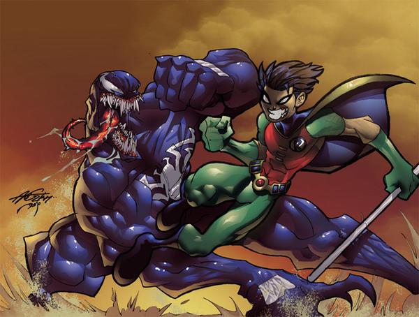 Robin vs Venom color by theFranchize