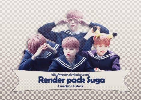 RENDER PACK: Suga (BTS) by kypaok