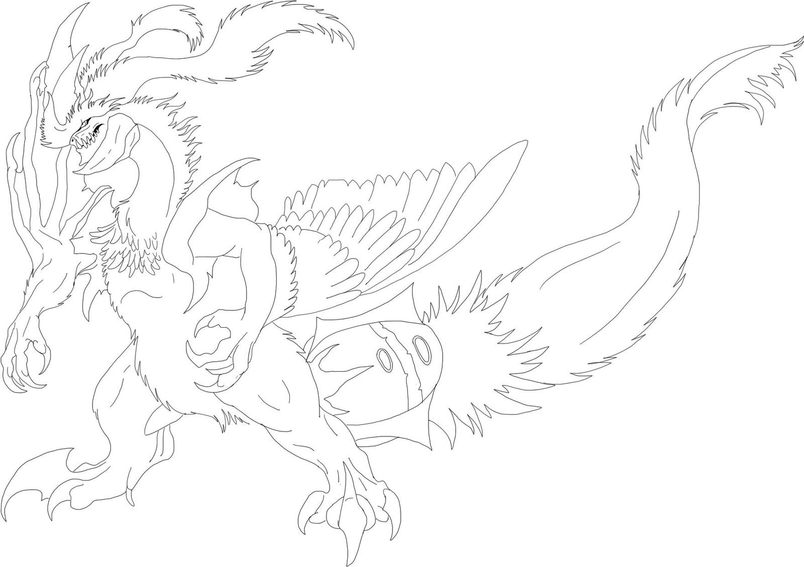 Another White Kyurem Line Art By KFCemployee
