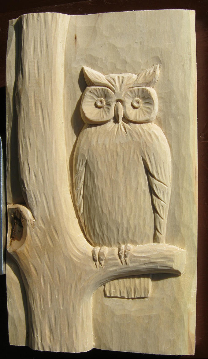 Faux leather cover handmade carving owl stationery office material