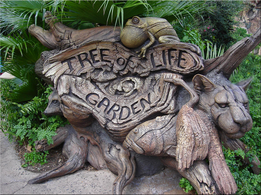 The sign for the Tree of Life Garden blends into the landscape surrounding the Tree of Life