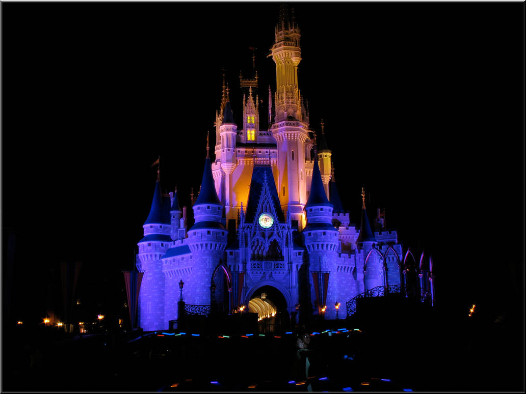 Castle At Night Blue Pink By Wdwparksgal On Deviantart