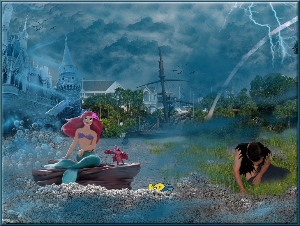 Ariel Sees Eric on the Beach by WDWParksGal