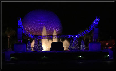 Spaceship Earth at Night by WDWParksGal