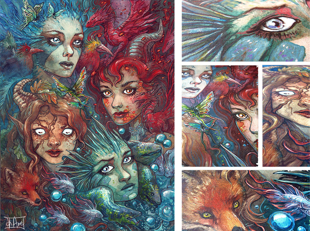 Four Elements Art : Four elements traditional by morgan chane on deviantart
