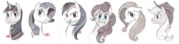 Inktober Mane 6 Pony Portraits by RyuRedwings