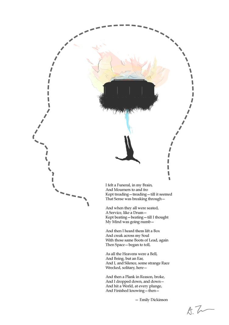 i felt a funeral in my brain by emily dickinson essay Free essay: explication of emily dickinson's i felt a funeral in my brain works cited not included in the poem i felt a funeral in my.