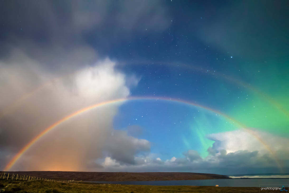 Moonbow under the Aurora by gmrphotos