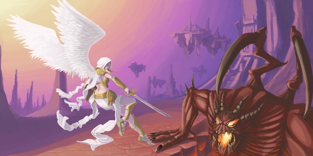 Angel vs Demon by shanku