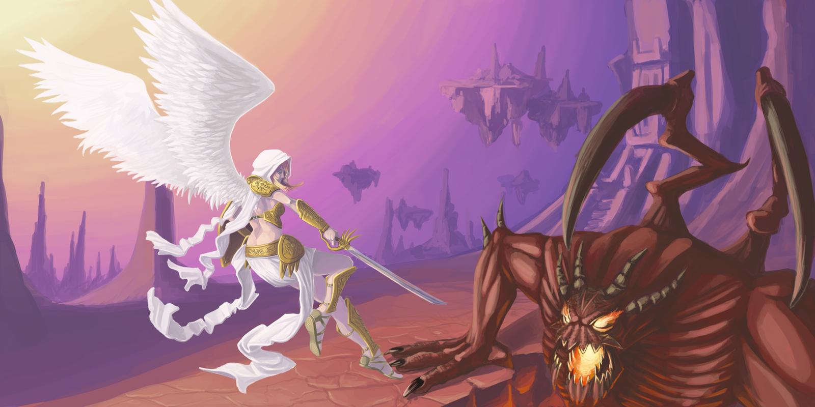 Anime Demons Vs Angels Angel vs demon by shankuAngel Warriors Vs Demons