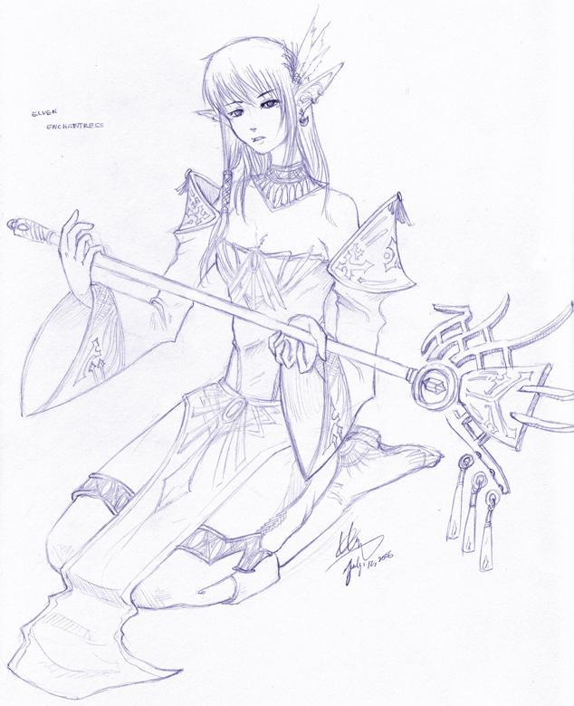 Elven Enchantress 'Sketch' by shanku