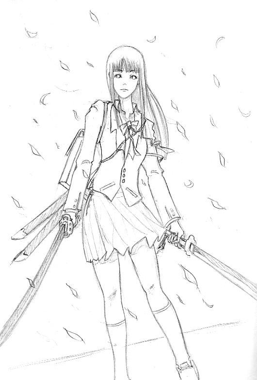 Katana School Girl 'Line' by shanku
