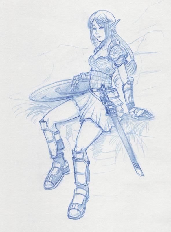 Elven Fighter 'Sketch' by shanku