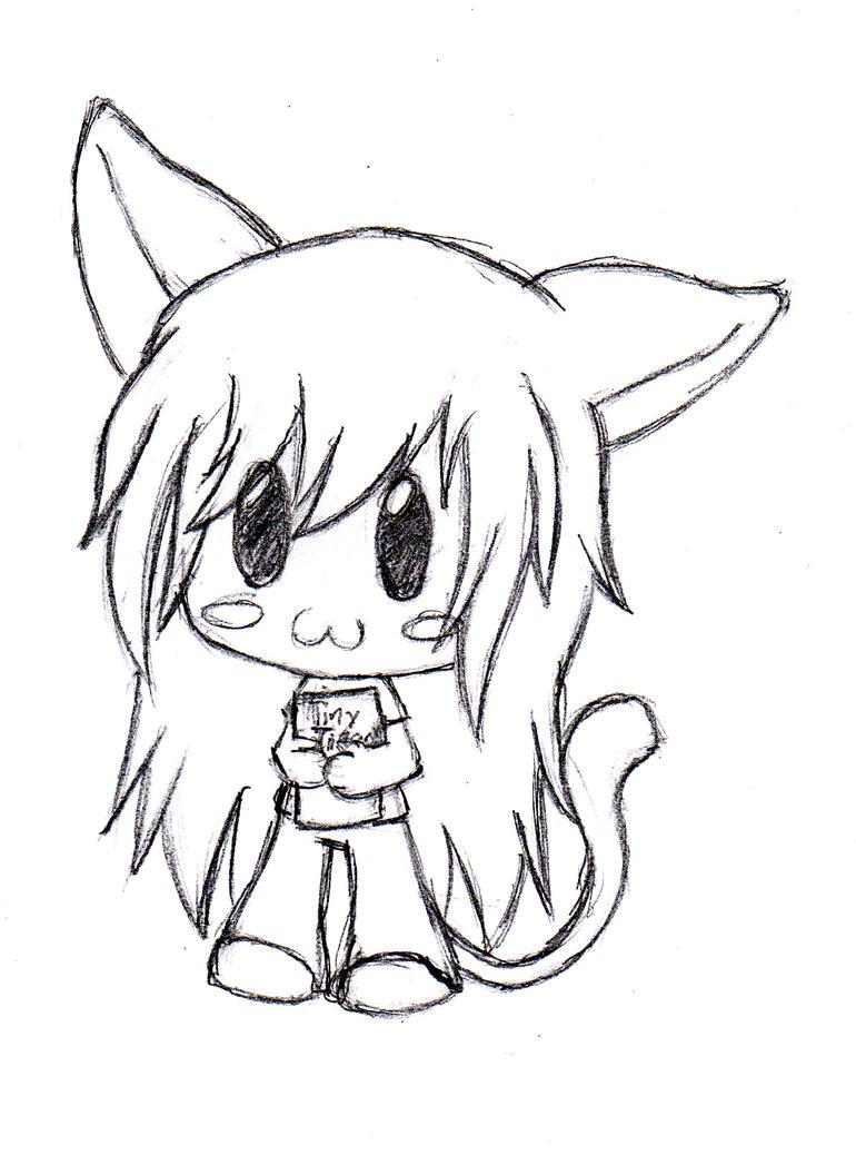 Kawaii Neko Girl - Chibi Sketch by cheesenketchup on ...  |Chibi Anime Neko Girl