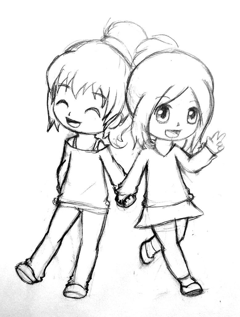 Easy Drawings Of Best Friends Best friends by gummigatorTwo Best Friends Hugging Drawing
