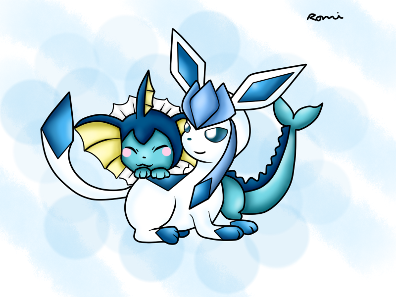 Cute pokemon pictures by • Racheldactyl • on N I N T E N D O |Vaporeon And Glaceon Wallpaper