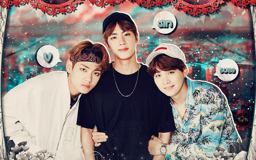 bts  v jin suga   wallpaper by yuyo8812 dbdeemc
