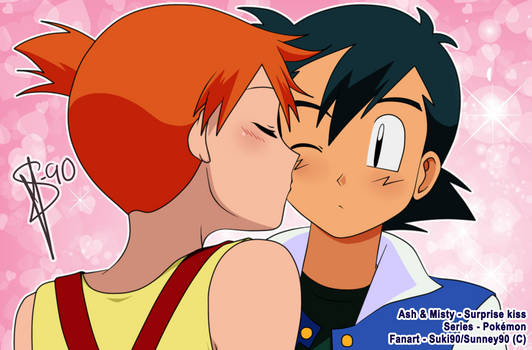 Pokemon ::Ash and Misty:: Surprise kiss!