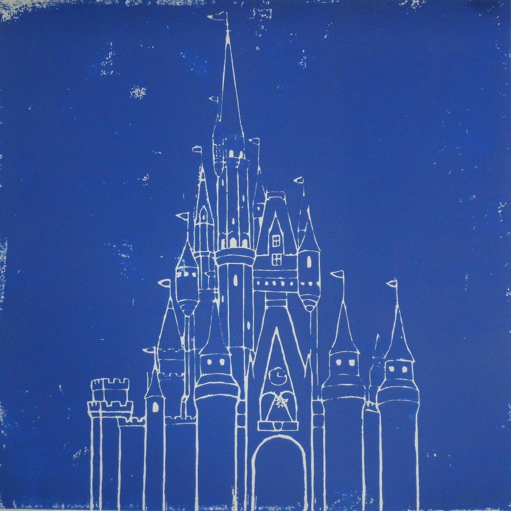 Cinderella castle blueprint poster the for Castle blueprints