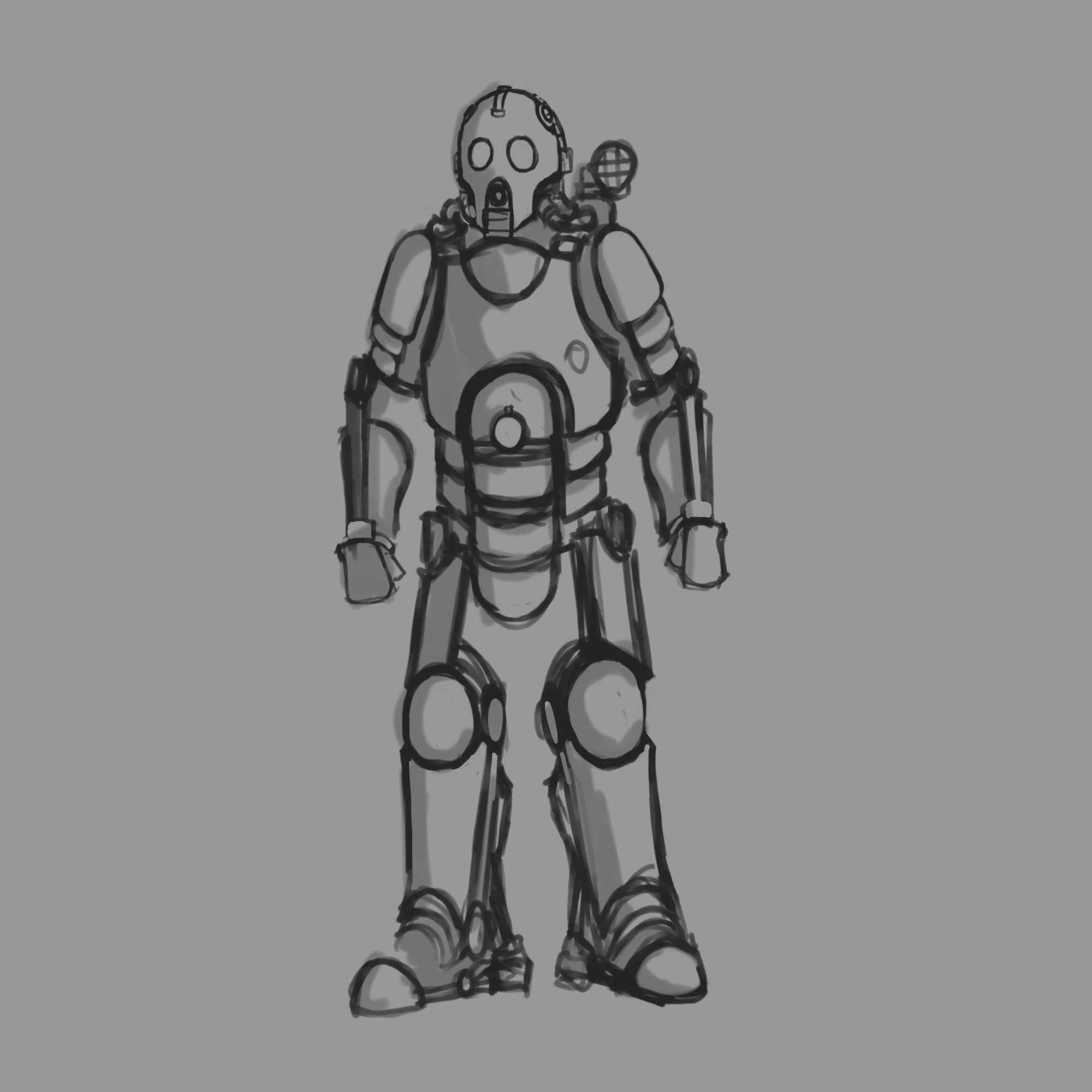 Light Power Armor Sketch By Carnosaur93