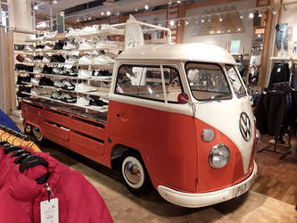 A Volkswagen Campervan with Shoes.