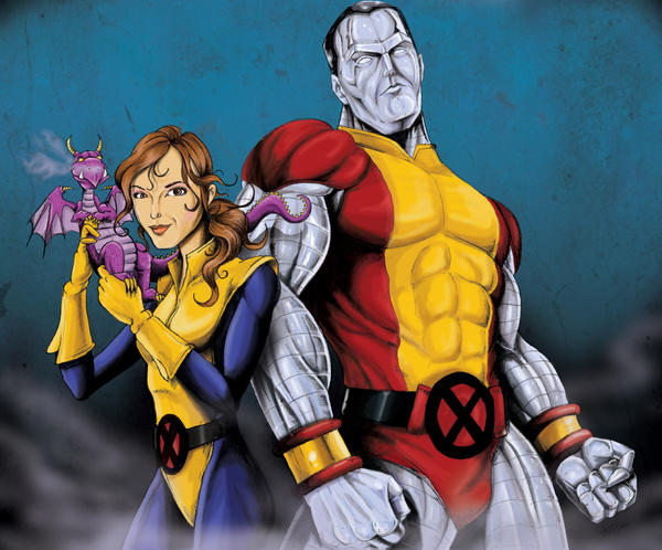 Kitty Pryde and Colossus by jlonnett