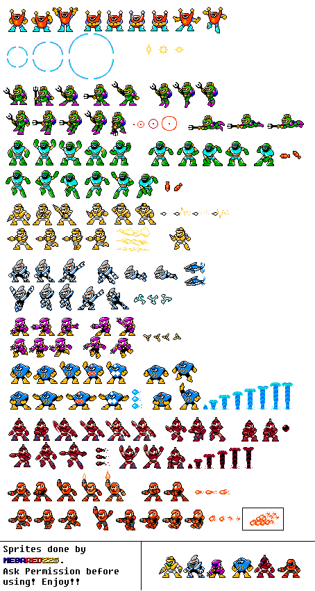 a mega man pc dos sprite sheet by megared225 on deviantart