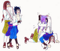 Request - Sasuke + Neji wedgies by Black-Chocobo99