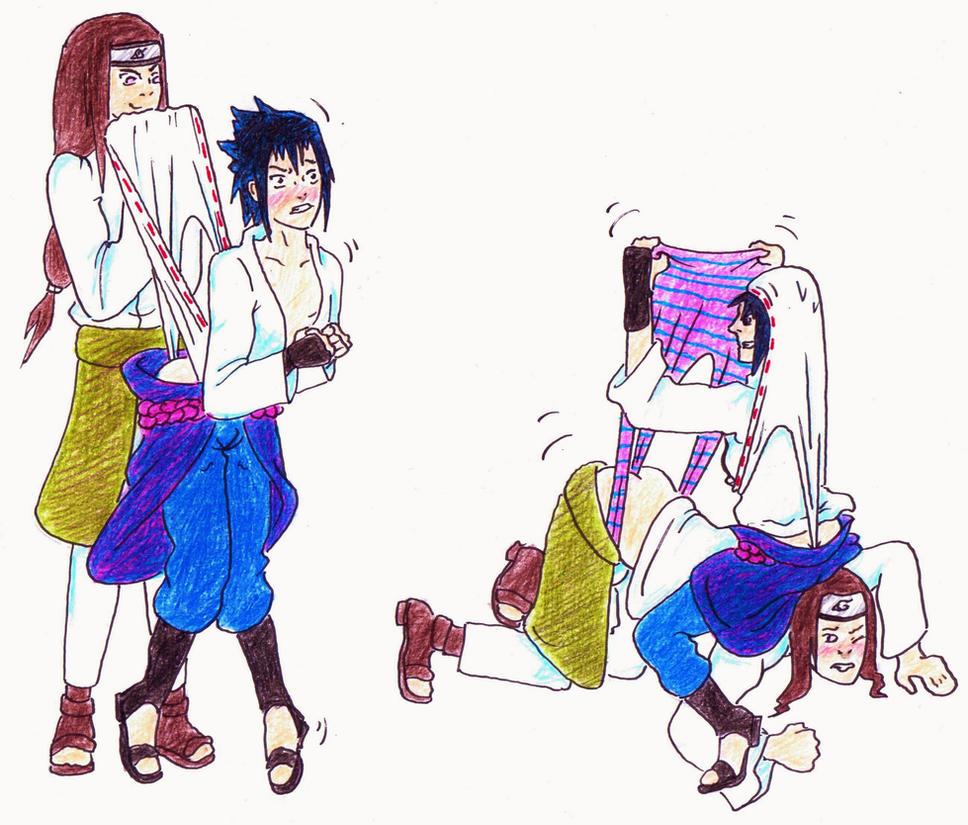 Request - Sasuke + Neji wedgies by Black-Chocobo99