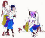 Request - Sasuke + Neji wedgies
