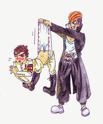Commission - Kiyotaka Ishimaru wedgie by Black-Chocobo99