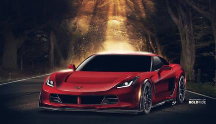 2017 Mid-engine Corvette front view by ilPoli