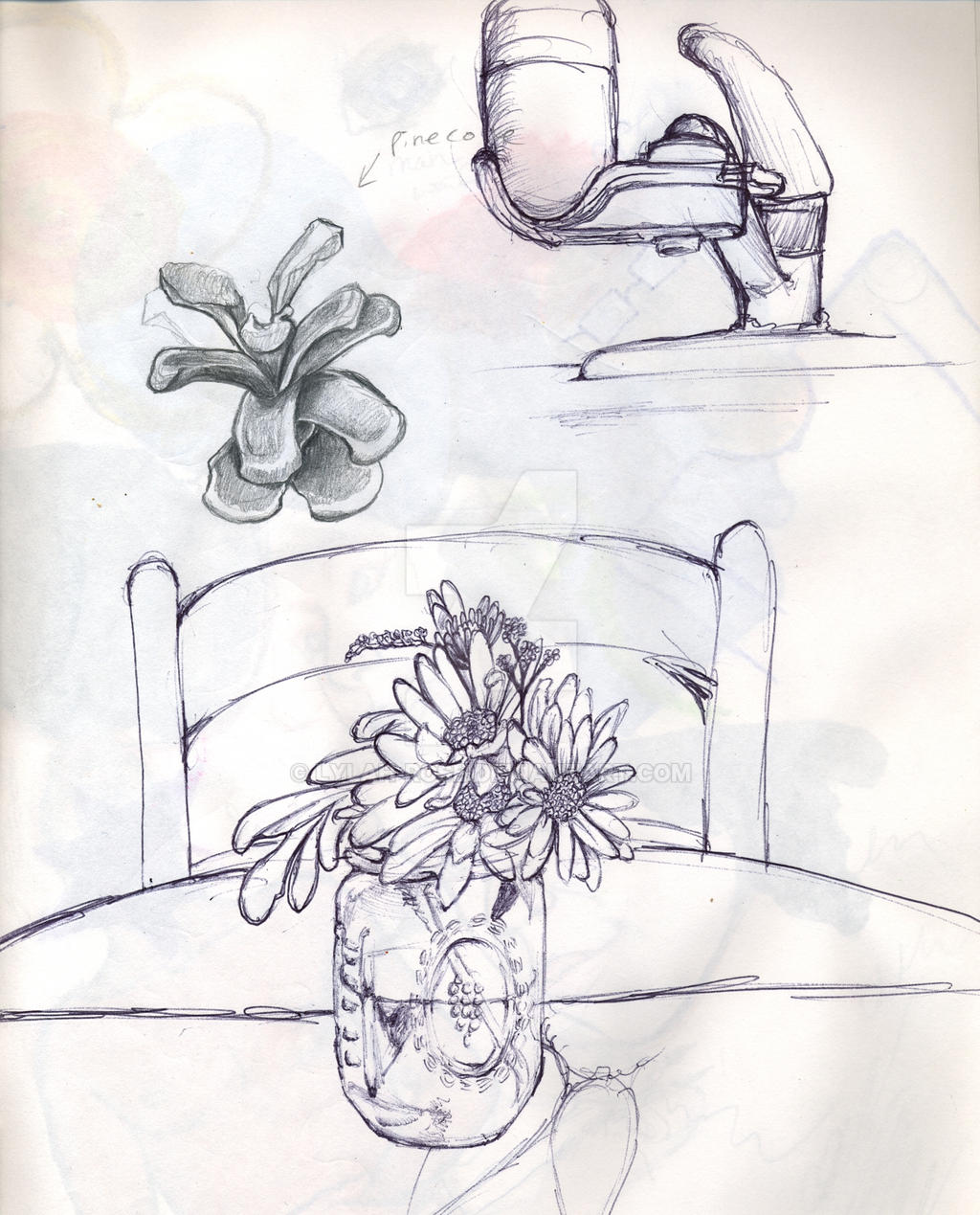 The Kitchen Sink Art Drawing Sketch Sketchbook By: Flower And Sink Sketch By Lylah-rose On DeviantArt
