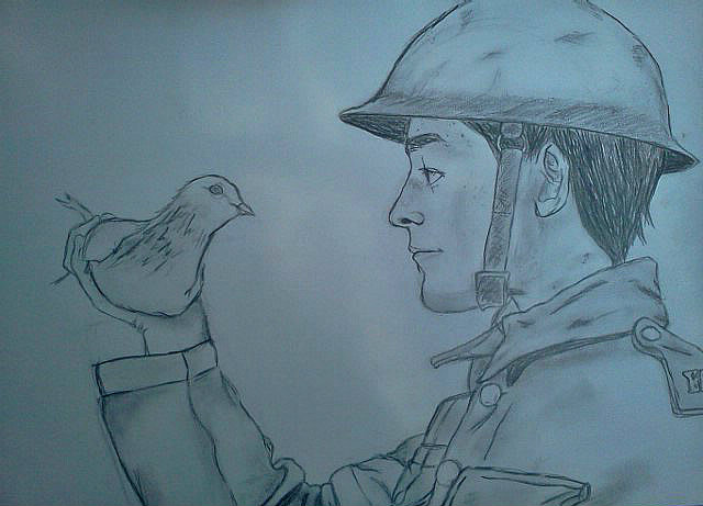 A Royal Engineer and his Messenger Pigeon by SerenityLunae