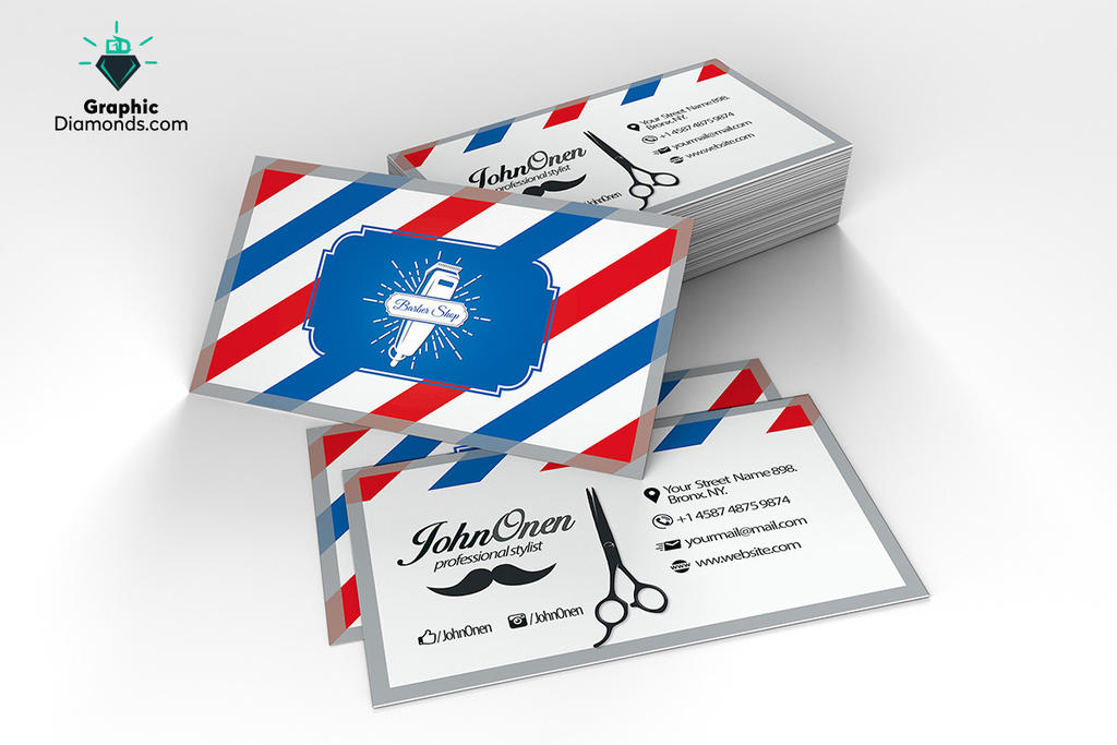Barber shop business card psd template photoshop by graphicdiamonds fbccfo Gallery