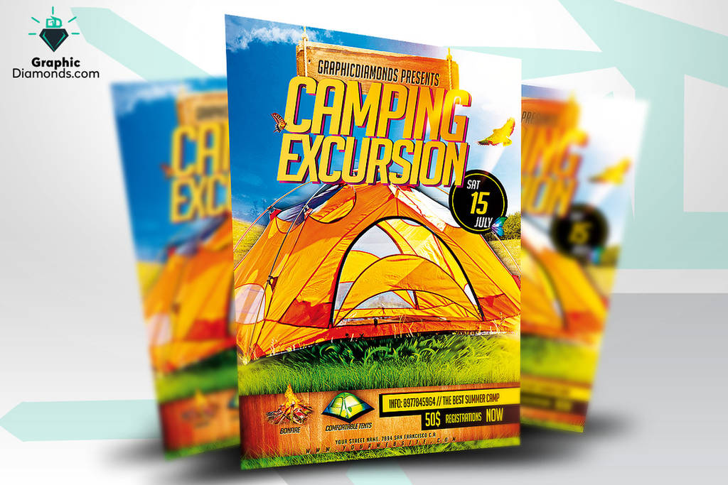 Camping Excursion PSD Flyer Template by GraphicDiamonds